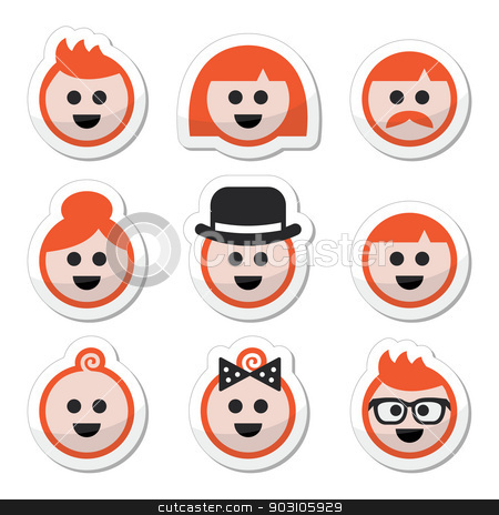 People with ginger vector hair icons set  stock vector clipart, Vector labels set of red hair people isolated on white by Agnieszka Murphy