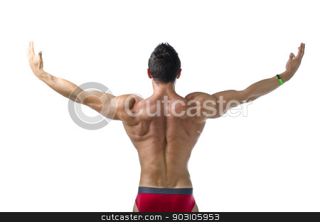 Back of young bodybuilder with arms spread open stock photo, Back of young bodybuilder with arms spread open. Isolated on white background by Stefano Cavoretto