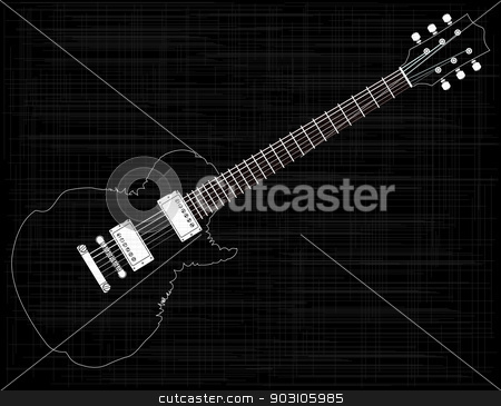 Abstract Guitar stock vector clipart, An abstract impresion of an old rock and roll electric guitar. by Kotto