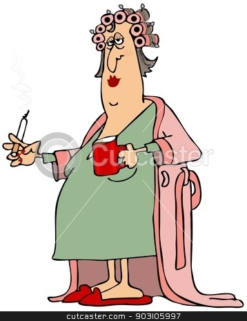 Woman in a bathrobe stock photo, This illustration depicts a tired looking woman in curlers wearing a long bathrobe while holding a cigarette and cup of coffee. by Dennis Cox