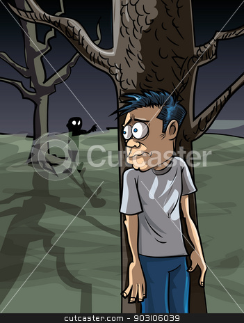 Cartoon of scared man in the woods hiding stock vector clipart, Cartoon of scared man in the woods hiding from a zombie by antonbrand