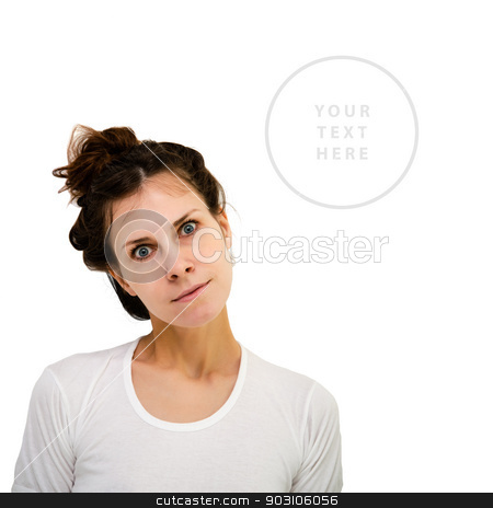 Lovely confused woman stock photo, Young woman with attentive expression against white background with copy-space by Imaster