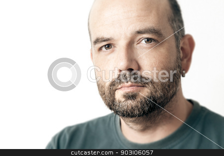 bearded man stock photo, A handsome man with a beard isolated on white background by Markus Gann