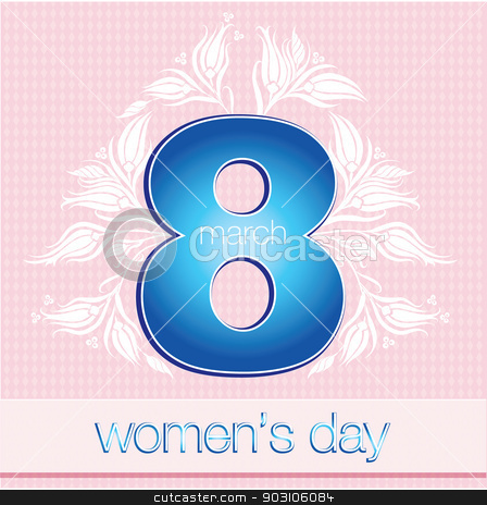 March 8 Women's Day stock vector clipart, March 8 Women's Day card with blue on white background by Sevgi Dal