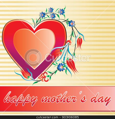 mother's day stock vector clipart, Mother's Day greeting card by Sevgi Dal