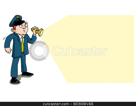 Cartoon security guard with flashlight stock vector clipart, Cartoon security guard with flashlight. Isolated on white by antonbrand