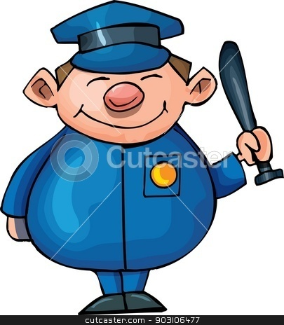 Cute Cartoon policeman stock vector clipart, Cute Cartoon policeman with night stick . Isolated on white by antonbrand