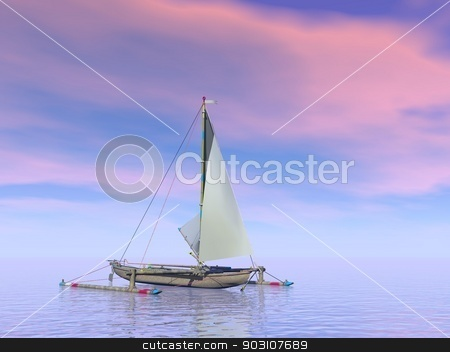 Trimaran boat by sunset - 3D render stock photo, Single trimaran boat floating on the water by pink sunset by Elenarts