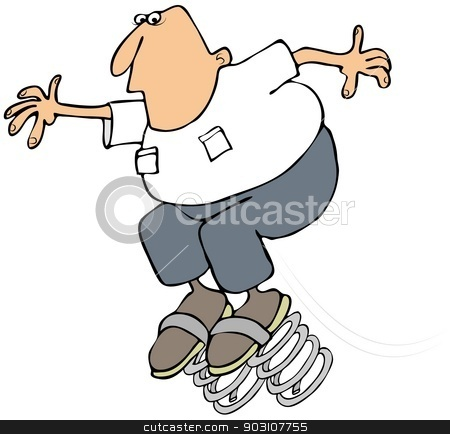 Spring ahead stock photo, This illustration depicts a man with giant springs attached to his shoes. by Dennis Cox