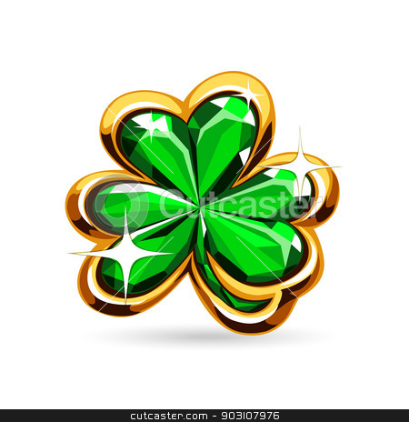 st.Patrick's Day's emerald clover stock vector clipart, st.Patrick's Day's symbol emerald clover. Isolated on white background. by Viachaslau Vaitsenok
