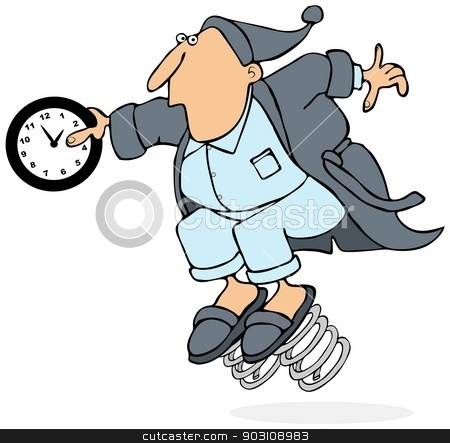 Daylight savings time stock photo, This illustration depicts a man in a robe with springs on his slippers holding a clock at 2 AM. by Dennis Cox