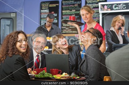 Coworkers at Lunch Laughing stock photo, Coffee house barista serving laughing business people by Scott Griessel
