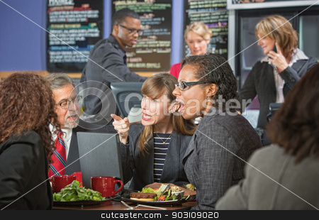 Arguing Executives in Cafeteria stock photo, Arguing business people with computer bickering over lunch by Scott Griessel