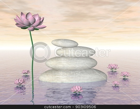 Zen lily flowers - 3D render stock photo, Pink lily flowers and leaves next to white stones upon water by colorful day by Elenarts