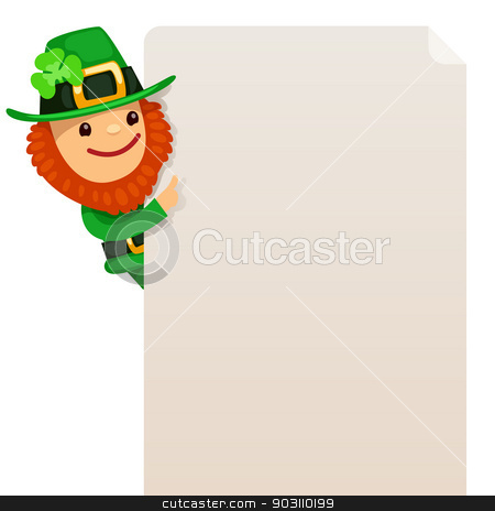 Leprechaun looking at blank poster stock vector clipart, Leprechaun looking at blank poster. In the EPS file, each element is grouped separately. Isolated on white background. by Viachaslau Vaitsenok