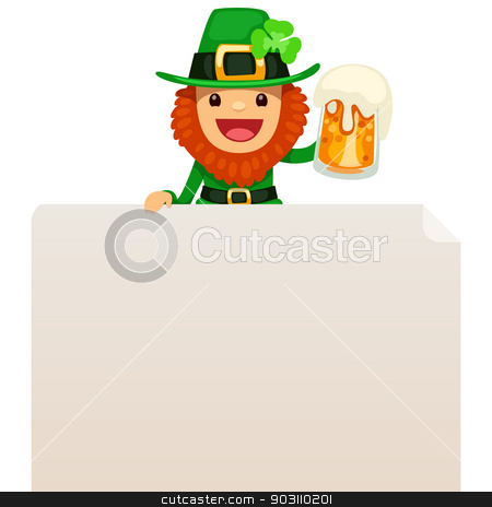 Leprechaun looking at blank poster on top stock vector clipart, Leprechaun looking at blank poster on top. In the EPS file, each element is grouped separately. Isolated on white background. by Viachaslau Vaitsenok