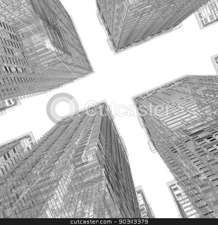 Skyscrapers. Wire-frame render stock photo, Skyscrapers. Isolated wire-frame render on a white background by cherezoff