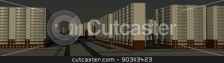 Residential district stock photo, Residential district. 3d rendering against the morning sky by cherezoff