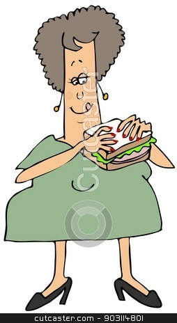 Woman eating a bologna sandwich stock photo, This illustration depicts a chubby woman holding up a bologna sandwich. by Dennis Cox