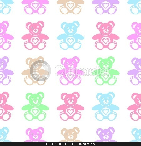 Teddy bears stock vector clipart, Seamless pattern made of cute colorful teddy bears by blumer