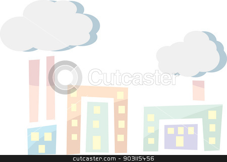 Factory Industry Icons stock vector clipart, Abstract icons of buildings with smokestacks and smog by Eric Basir