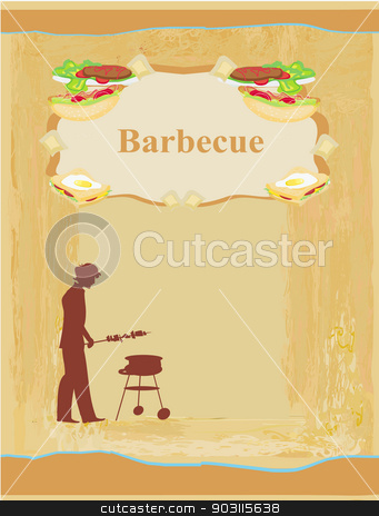 man cooking on his barbecue - Invitation stock vector clipart, man cooking on his barbecue - Invitation by Jacky Brown