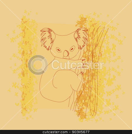 koala cartoon drawing stock vector clipart, koala cartoon drawing by Jacky Brown
