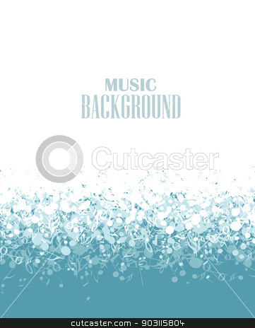 music background stock vector clipart, Vector musical blue background with notes by Miroslava Hlavacova