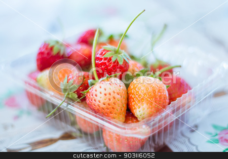Strawberry fresh in the  plastic cups stock photo, Strawberry fresh in the  plastic cups by jakgree