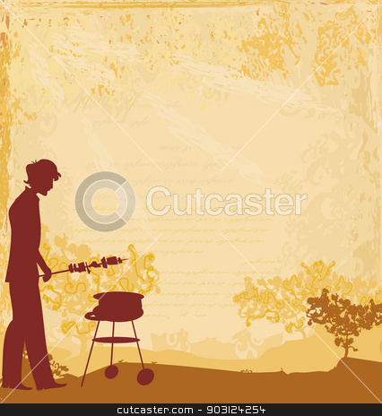 man silhouette cooking on his barbecue Invitation stock vector clipart, man silhouette cooking on his barbecue Invitation by Jacky Brown
