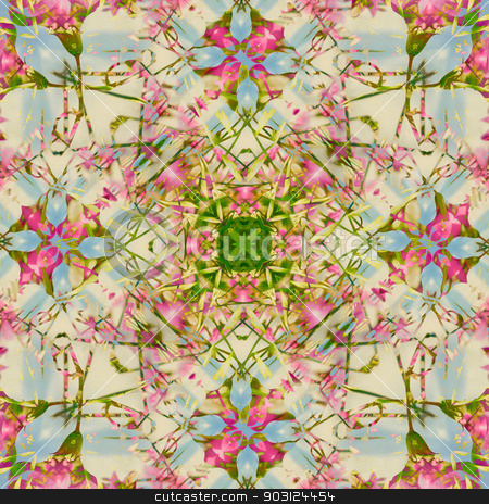 Complex Ornament Artwork stock photo, Complex ornament pattern artwork in pink, blue and green tones background. by Daniel