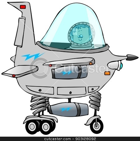 Boy piloting a starship stock photo, This illustration depicts a boy in the cockpit of a cartoon starship. by Dennis Cox