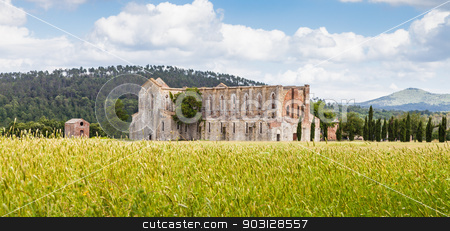 San Galgano Abbey stock photo, Italy, Tuscany region. Medieval San Galgano Abbey. by Paolo Gallo
