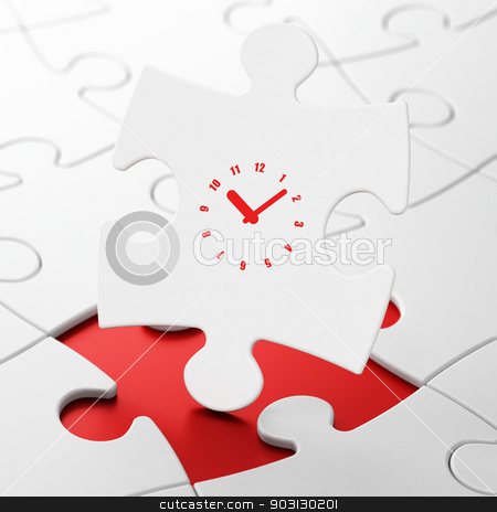 Time concept: Clock on puzzle background stock photo, Time concept: Clock on White puzzle pieces background, 3d render by mkabakov