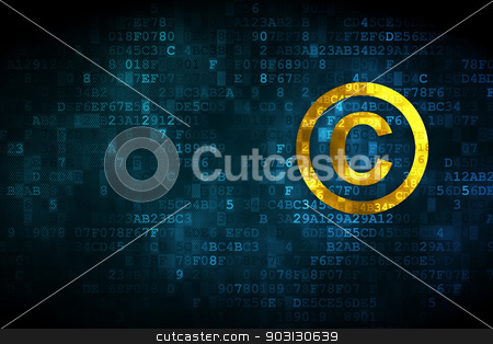 Law concept: Copyright on digital background stock photo, Law concept: pixelated Copyright icon on digital background, empty copyspace for card, text, advertising, 3d render by mkabakov