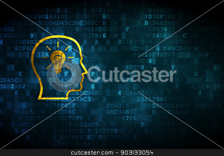 Advertising concept: Head With Lightbulb on digital background stock photo, Advertising concept: pixelated Head With Lightbulb icon on digital background, empty copyspace for card, text, advertising, 3d render by mkabakov