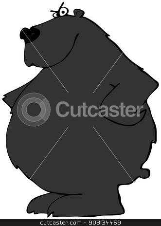 Black bear with paws on its hips stock photo, This illustration depicts a black bear with paws on its hips. by Dennis Cox
