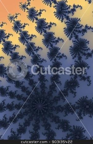 Fractal stock photo, Blue and orange colors building a fractal. by Henrik Lehnerer