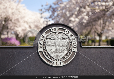 Seal of the State of Oregon stock photo, SALEM, OREGON - MARCH 23, 2014: Seal of the State of Oregon Sign at Salem Oregon State Capitol State Park Closeup by Jit Lim