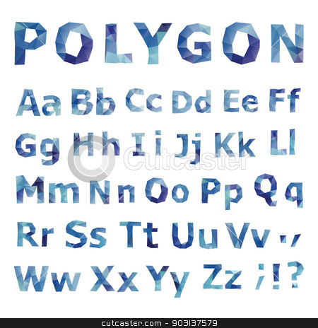 Alphabet. Polygonal font set. stock photo, Alphabet. Polygonal font set. Geometrical style. Vector illustration. by Katyau