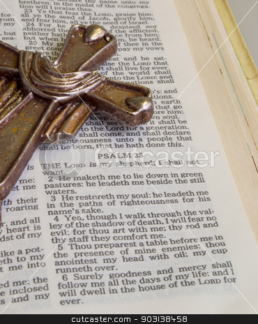 The Lord is my Shepherd stock photo, Bible opened to bible verse Psalm 23 The Lord  is my Shepherd by DONNA WEST
