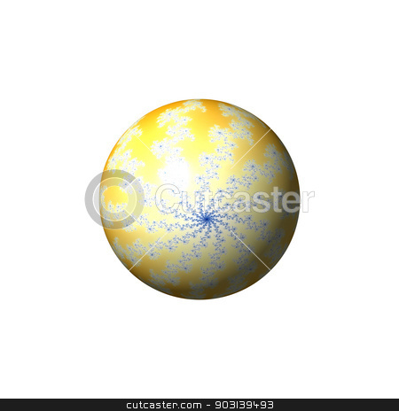 Yellow Abstract Globe stock photo, A yellow abstract fractal globe on white background. by Henrik Lehnerer