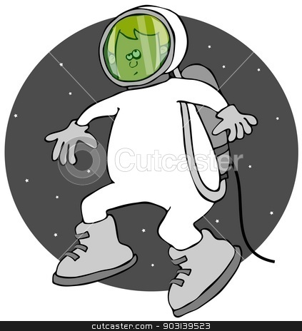 Boy on a space walk stock photo, This illustration depicts a boy in a spacesuit and helmet attached to the ship with a tether. by Dennis Cox