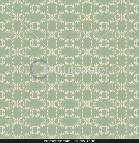 green background with silhouette of plant stock vector clipart, green background with silhouettes of plants. Use as wallpaper or a neutral backdrop. seamless texture by LittleCuckoo