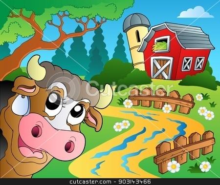 Farm theme with red barn 6 stock vector clipart, Farm theme with red barn 6 - eps10 vector illustration. by Klara Viskova