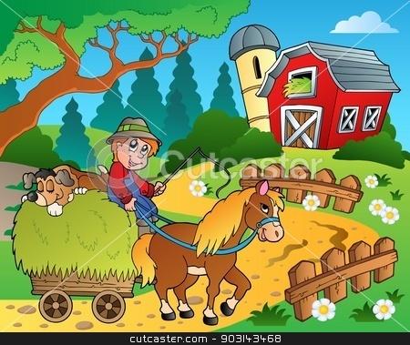 Farm theme with red barn 8 stock vector clipart, Farm theme with red barn 8 - eps10 vector illustration. by Klara Viskova