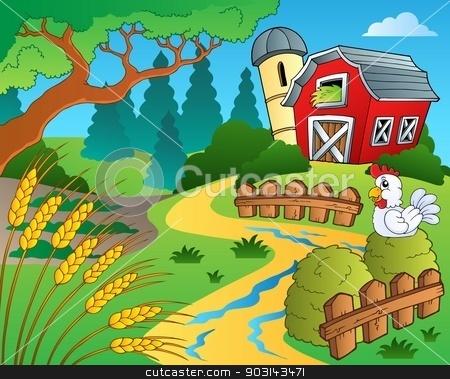 Farm theme with wheat stock vector clipart, Farm theme with wheat - eps10 vector illustration. by Klara Viskova