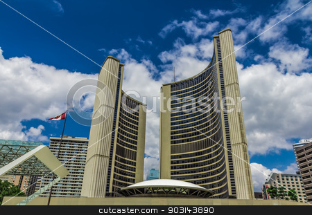 Downtown Toronto City stock photo, The downtown of Toronto city in a cloudy day, Ontario, Canada. by Peter Kolomatski
