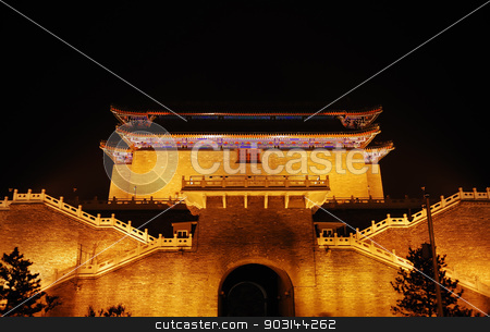 Night illumination of temple stock photo, Beautiful night illumination of old asian temple by Anzhela Buch
