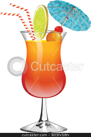 exotic drink with umbrella stock vector clipart, exotic drink with umbrella by STAR ILLUSTRATION